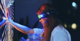 woman touching electronic screen